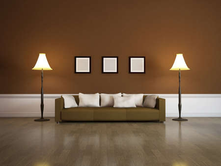 The interior of a large room with brown sofa photo