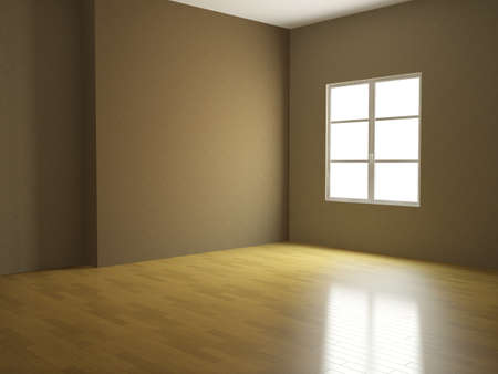 The interior of an empty room with a window photo