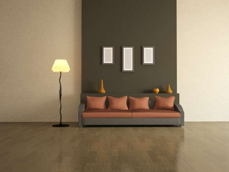 The interior of a large room with sofa and lamp Stock Photo - 13148695