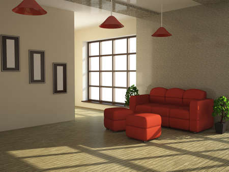 Interior of a room with a red sofa and a plant photo