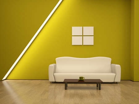 A yellow sofa near an yellow wall photo