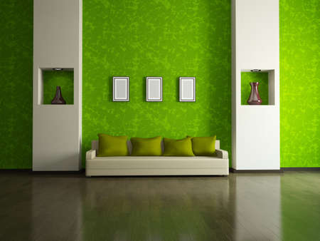 zen interior: Sofa with  pillows near a green wall