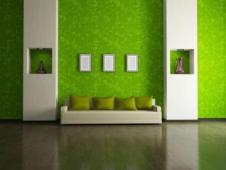 Sofa with  pillows near a green wall photo