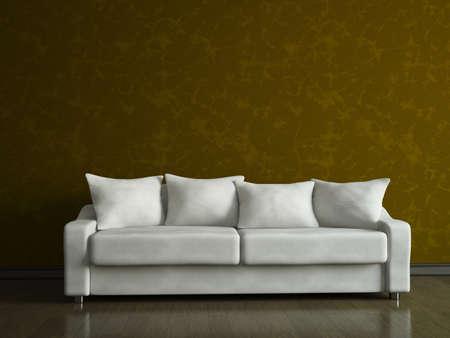 A white sofa near the brown wall photo