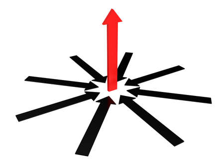 The red arrow above other grey arrows Stock Photo - 13729091