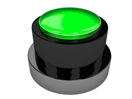 The green metal button on a white background photo