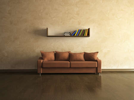 A brown sofa near the brown wall photo