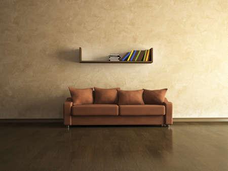 A brown sofa near the brown wall photo