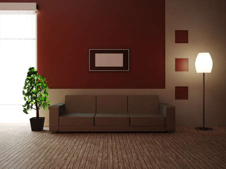 home  lighting: A room with a sofa and a plant Stock Photo