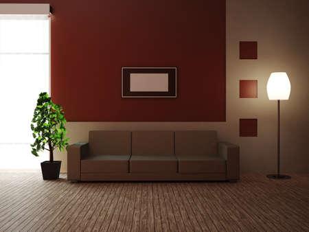 Una habitación con un sofá y una planta Foto de archivo
