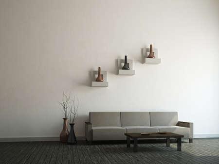 Gray sofa and vases near a wall photo