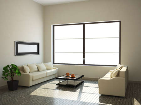 The inter of a large room with a window Stock Photo - 13729183