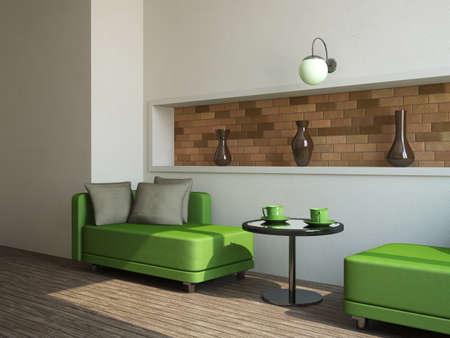 Two green sofas and little table near a wall Stock Photo - 13729213