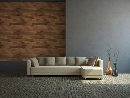 decor residential: Big sofa and vases near a wall