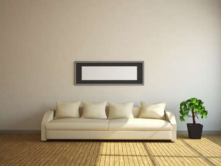 A room with a sofa and a plant photo