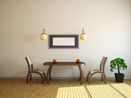 dining table: Table and two chairs near a wall