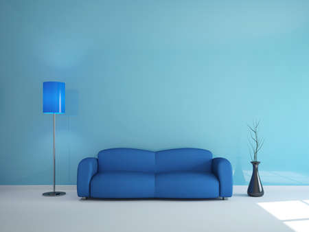 Room interior with a blue sofa and a lamp photo