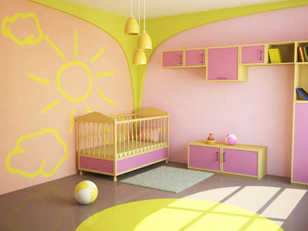 Room interior with a bed for the child photo