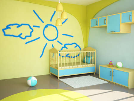 Room interior with a bed for the child Stock Photo - 13729173
