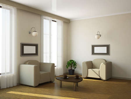 The interior of a large room with a window Stock Photo