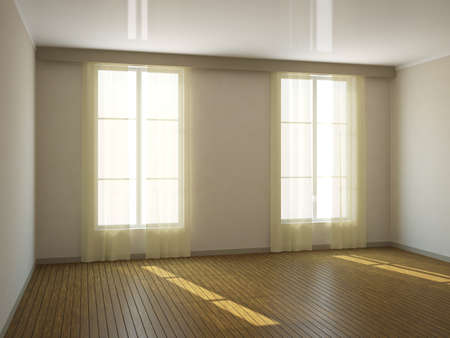 curtain window: A large empty room with a window