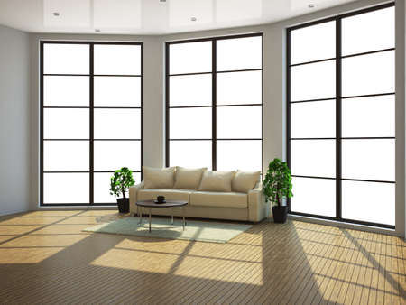 The interior of a large room with a window Stock Photo - 13729176