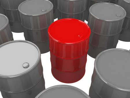 Barrels of oil on a white background photo