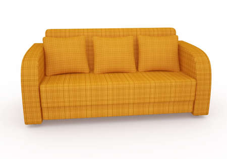 Orange sofa with pillows on a white background photo