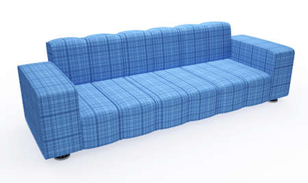 Blue sofa with pillows on a white background Stock Photo - 14013076
