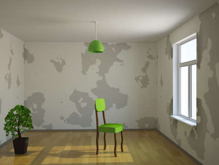 empty chair: A small room with plant and chair