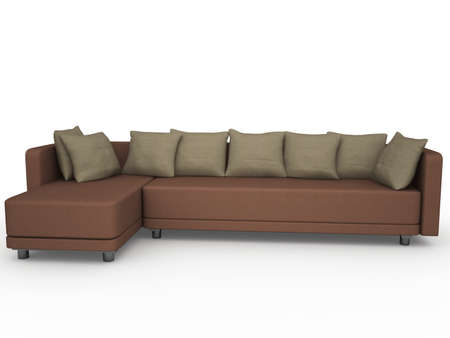 Brown sofa with pillows on a white background Stock Photo - 14013066