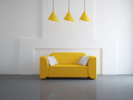 jetset: Interior of a room with an orange sofa