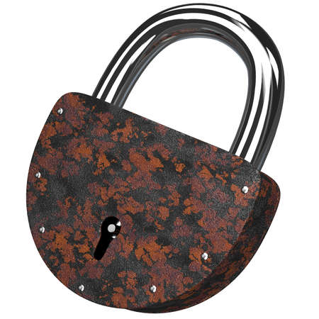 The old rusty lock on a white background photo