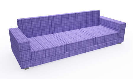 Violet sofa with pillows on a white background photo