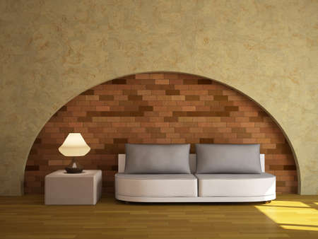 Interior with a sofa and a lamp Stock Photo - 14013078