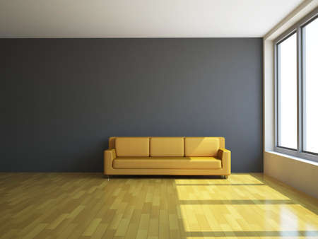 The sofa and the lamp near a wall Stock Photo - 14176655