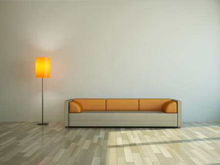 The sofa and the lamp near a wall Stock Photo - 14176656