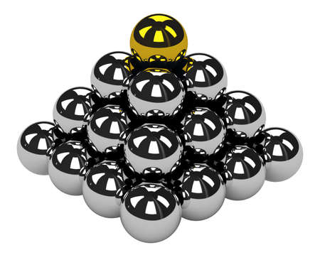 The big pyramid of shiny metal balls Stock Photo - 14176605