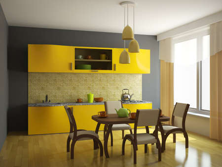 Kitchen with orange furniture and a window Stock Photo - 14176658