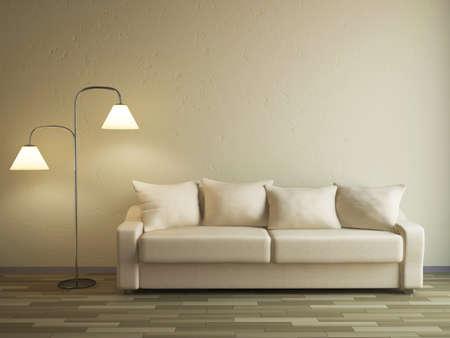 divano: Il divano e la lampada vicino ad una parete