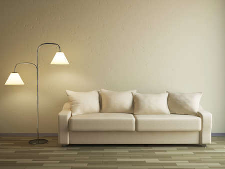 zen interior: The sofa and the lamp near a wall