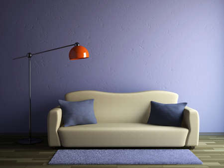 The sofa and the lamp near a wall Stock Photo - 14319581