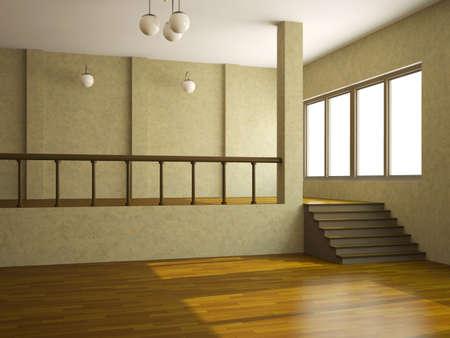addition: Une grande salle avec une �chelle et la fen�tre Banque d'images