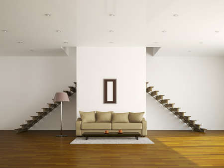A large room with a ladder and sofa Stock Photo