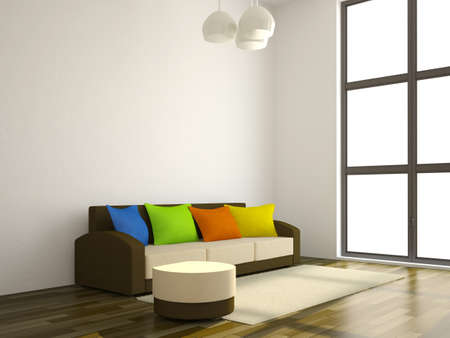 The sofa with the color pillows near a wall Stock Photo - 14319548