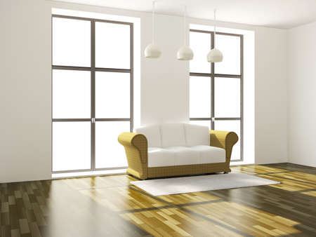 domestic scenes: The room with sofa and a big windows