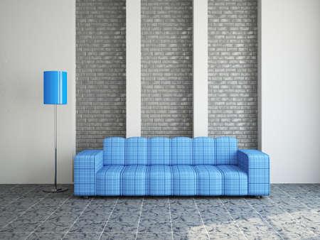 The room interior with sofa near a wall photo