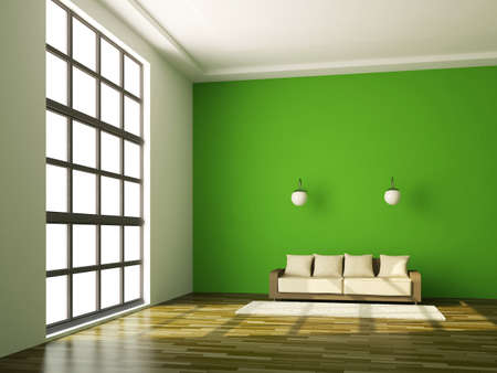 green office: The room interior with sofa near a wall