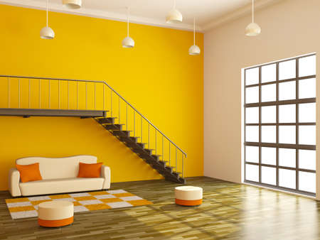 loft apartment: A large room with a ladder and sofa Stock Photo
