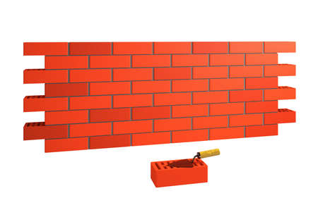 Brick wall and trowel on a white background photo
